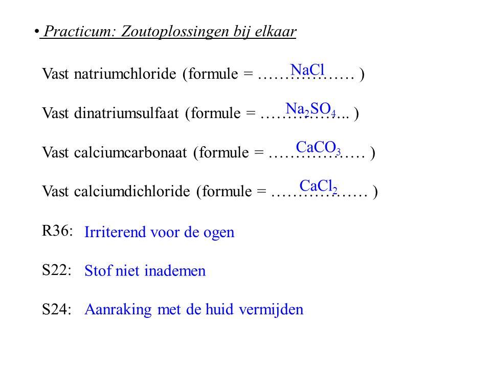 Practicum: Zoutoplossingen bij elkaar Vast natriumchloride (formule = ……………… ) Vast dinatriumsulfaat (formule = ……………..