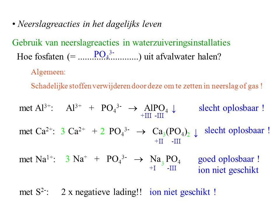 Gebruik van neerslagreacties in waterzuiveringsinstallaties Algemeen: Schadelijke stoffen verwijderen door deze om te zetten in neerslag of gas .