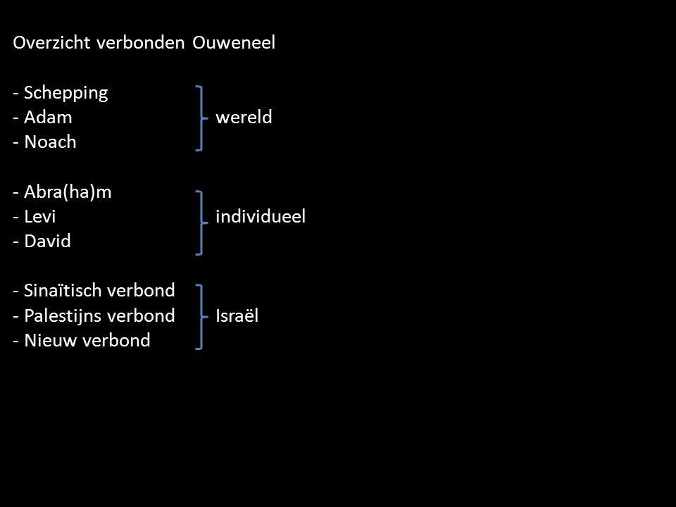 Overzicht verbonden Ouweneel - Schepping - Adamwereld - Noach - Abra(ha)m - Leviindividueel - David - Sinaïtisch verbond - Palestijns verbondIsraël -