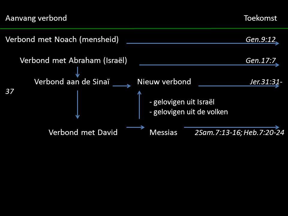 Aanvang verbond Toekomst Verbond met Noach (mensheid) Gen.9:12 Verbond met Abraham (Israël) Gen.17:7 Verbond aan de Sinaï Nieuw verbond Jer.31:31- 37 - gelovigen uit Israël - gelovigen uit de volken Verbond met DavidMessias 2Sam.7:13-16; Heb.7:20-24