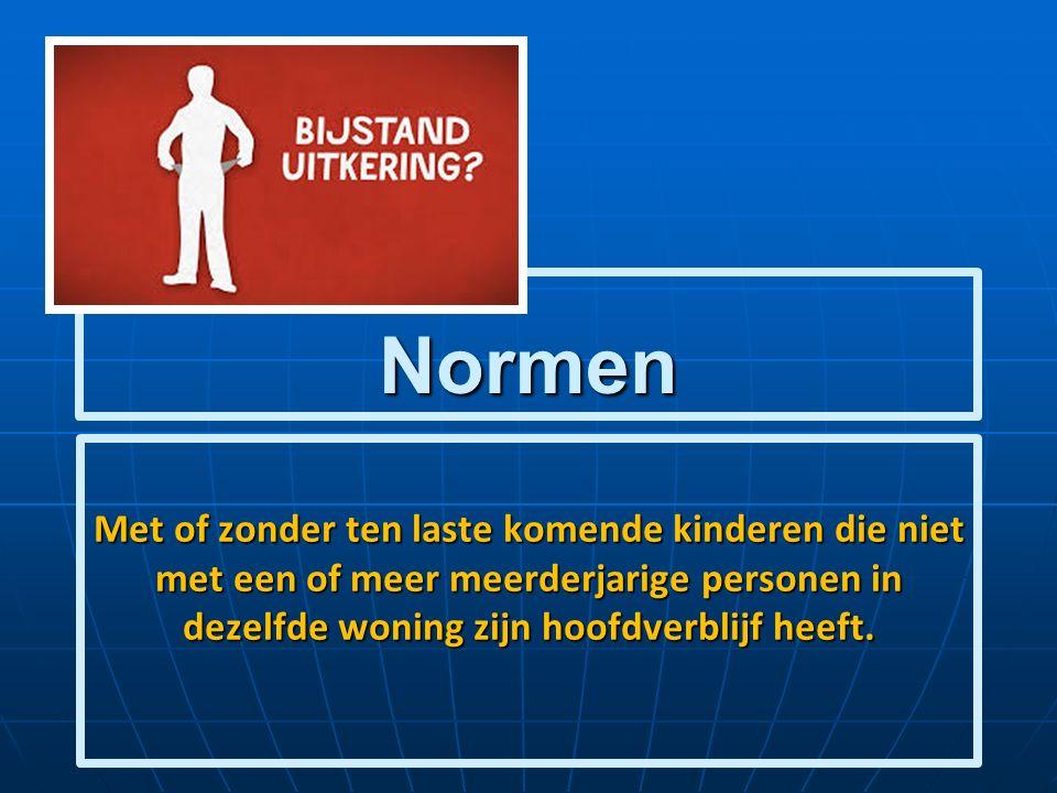 Normen Met of zonder ten laste komende kinderen die niet met een of meer meerderjarige personen in dezelfde woning zijn hoofdverblijf heeft.