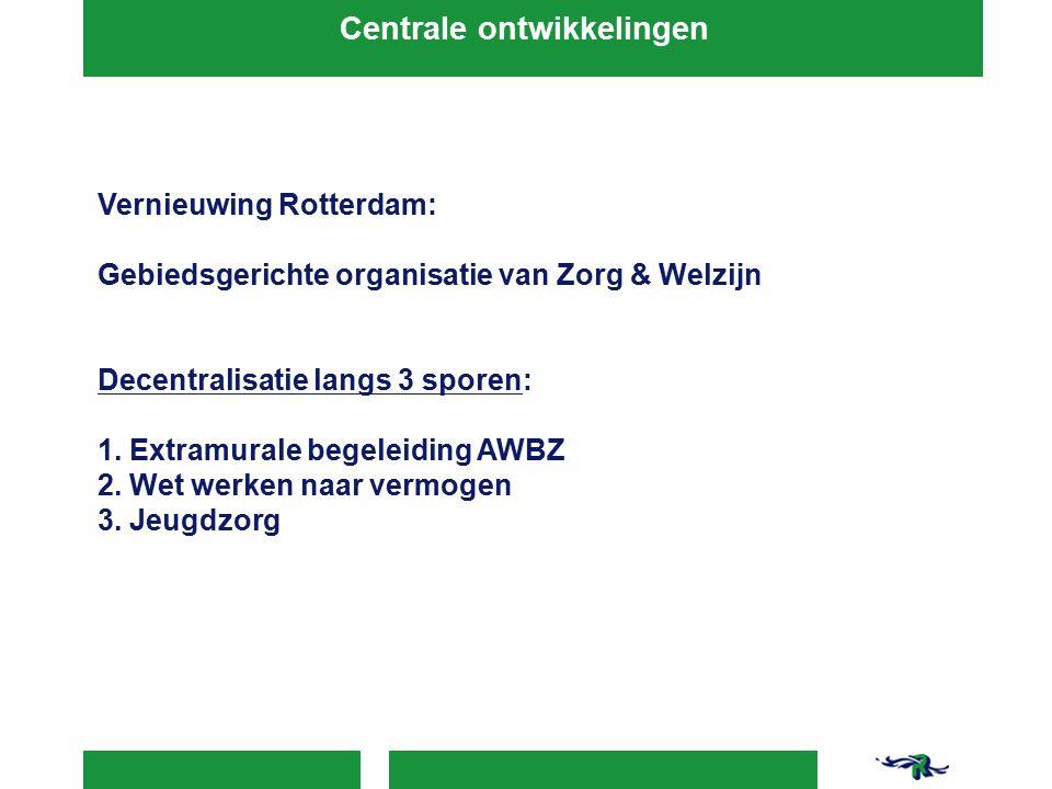 Vernieuwing Rotterdam: Gebiedsgerichte organisatie van Zorg & Welzijn Decentralisatie langs 3 sporen: 1.
