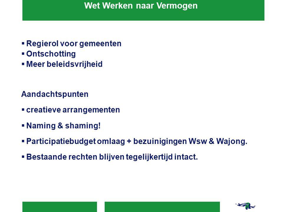 Wet Werken naar Vermogen  Regierol voor gemeenten  Ontschotting  Meer beleidsvrijheid Aandachtspunten  creatieve arrangementen  Naming & shaming.