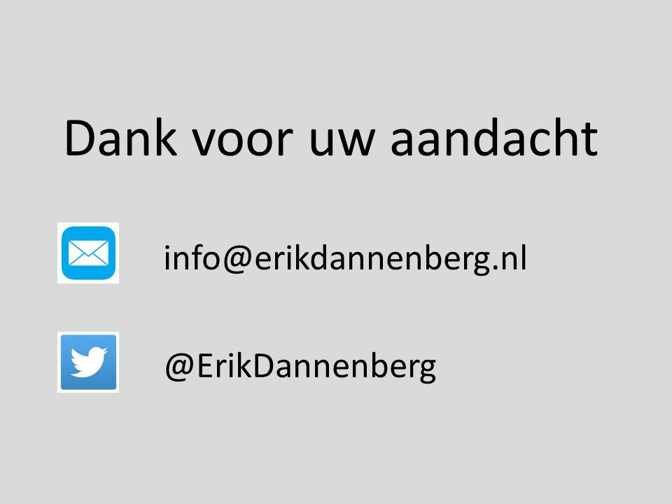 info@erikdannenberg.nl @ErikDannenberg Dank voor uw aandacht