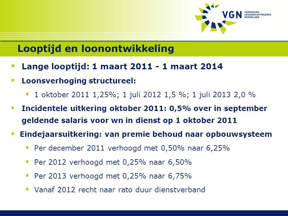 Looptijd en loonontwikkeling  Lange looptijd: 1 maart 2011 - 1 maart 2014  Loonsverhoging structureel:  1 oktober 2011 1,25%; 1 juli 2012 1,5 %; 1