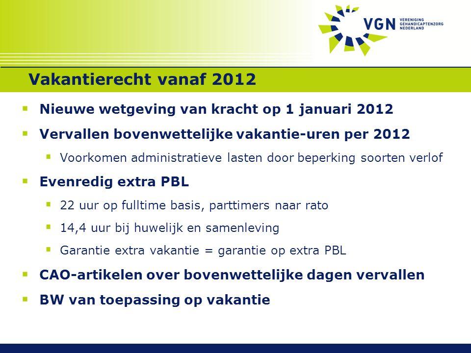 Vakantierecht vanaf 2012  Nieuwe wetgeving van kracht op 1 januari 2012  Vervallen bovenwettelijke vakantie-uren per 2012  Voorkomen administratiev
