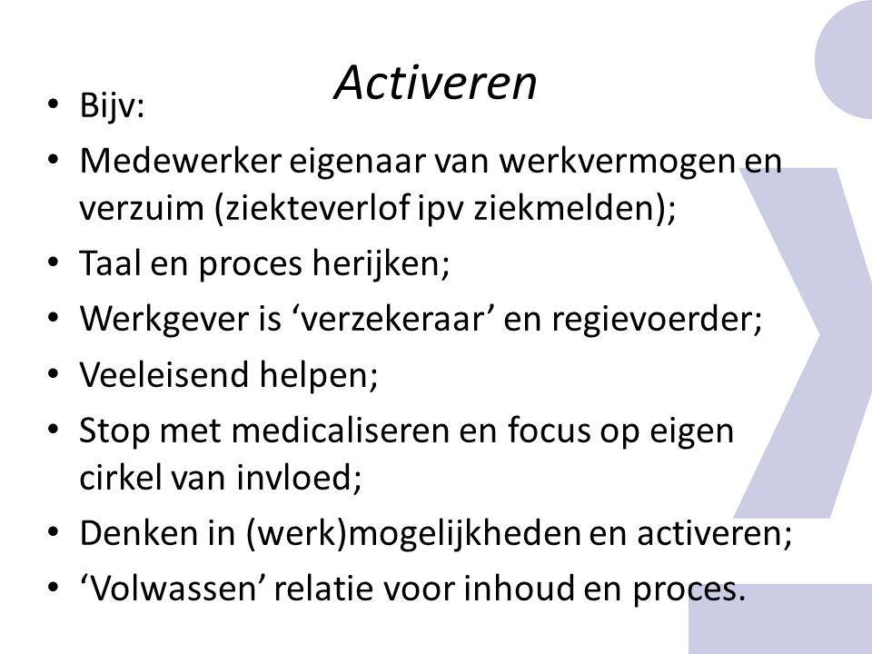 Activeren Bijv: Medewerker eigenaar van werkvermogen en verzuim (ziekteverlof ipv ziekmelden); Taal en proces herijken; Werkgever is 'verzekeraar' en