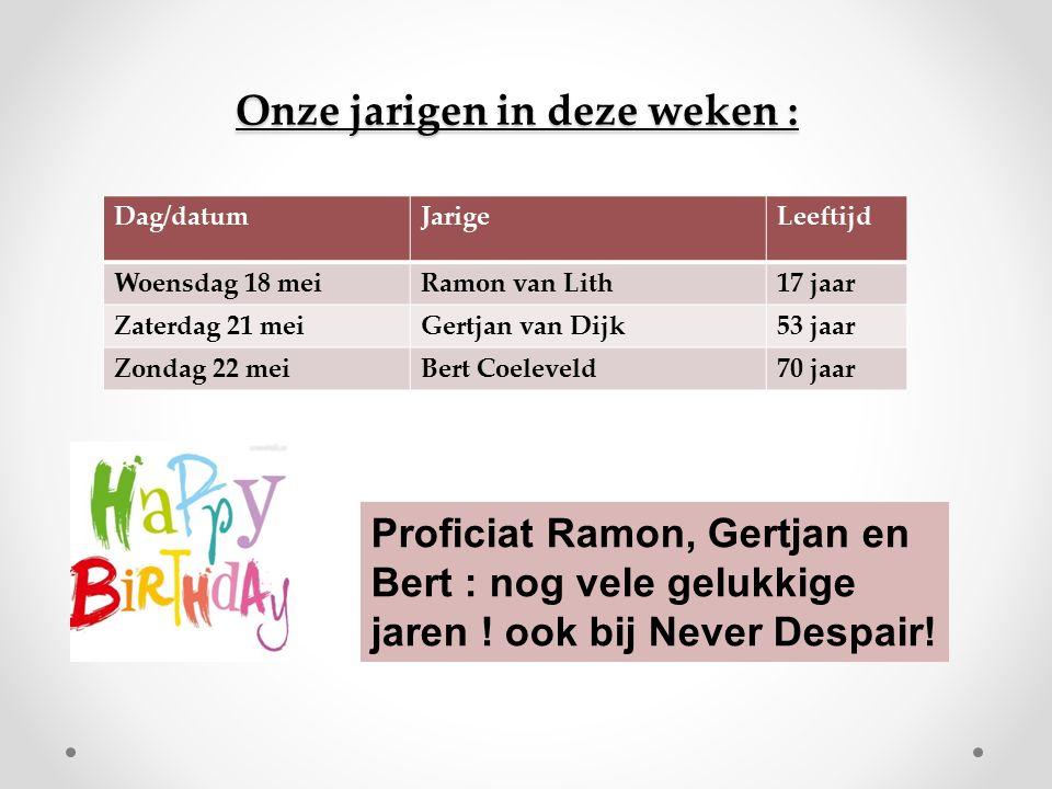 Onze jarigen in deze weken : Dag/datumJarigeLeeftijd Woensdag 18 meiRamon van Lith17 jaar Zaterdag 21 meiGertjan van Dijk53 jaar Zondag 22 meiBert Coeleveld70 jaar Proficiat Ramon, Gertjan en Bert : nog vele gelukkige jaren .