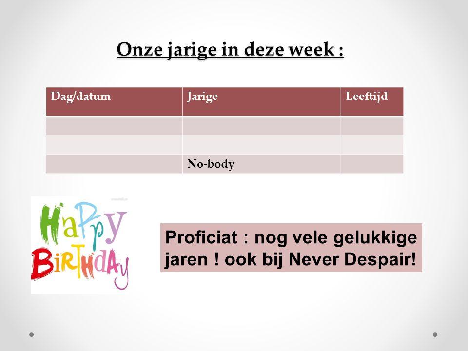 Onze jarige in deze week : Dag/datumJarigeLeeftijd No-body Proficiat : nog vele gelukkige jaren .