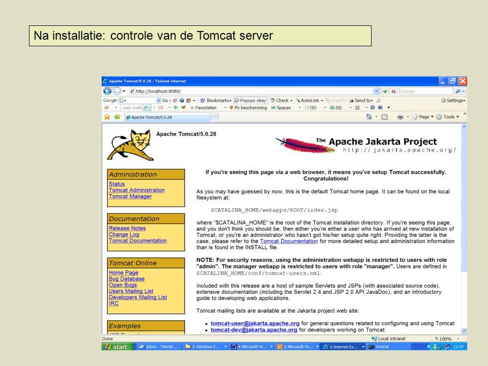 Na installatie: controle van de Tomcat server