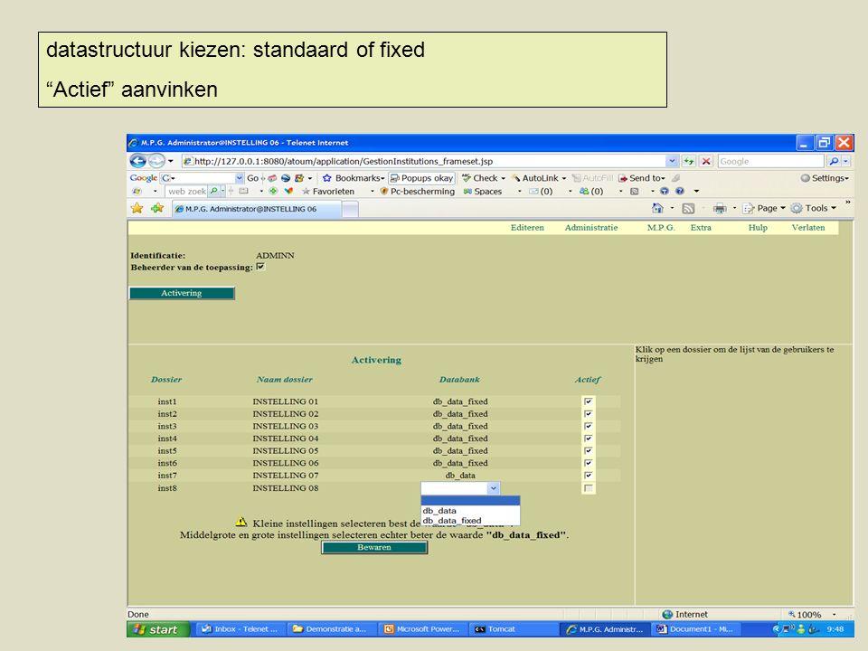 datastructuur kiezen: standaard of fixed Actief aanvinken