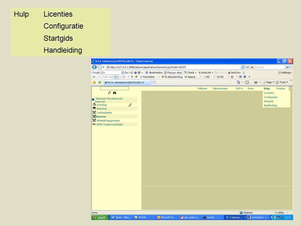 HulpLicenties Configuratie Startgids Handleiding