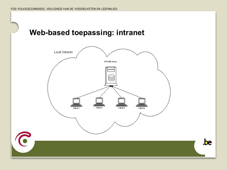 FOD VOLKSGEZONDHEID, VEILIGHEID VAN DE VOEDSELKETEN EN LEEFMILIEU Web-based toepassing: intranet