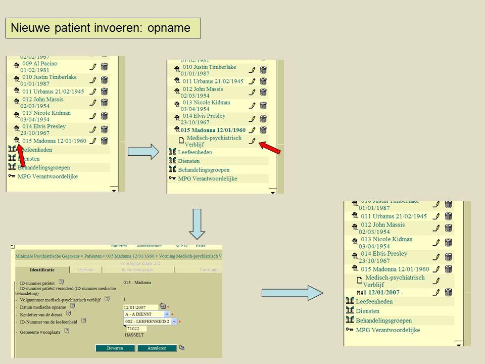 Nieuwe patient invoeren: opname