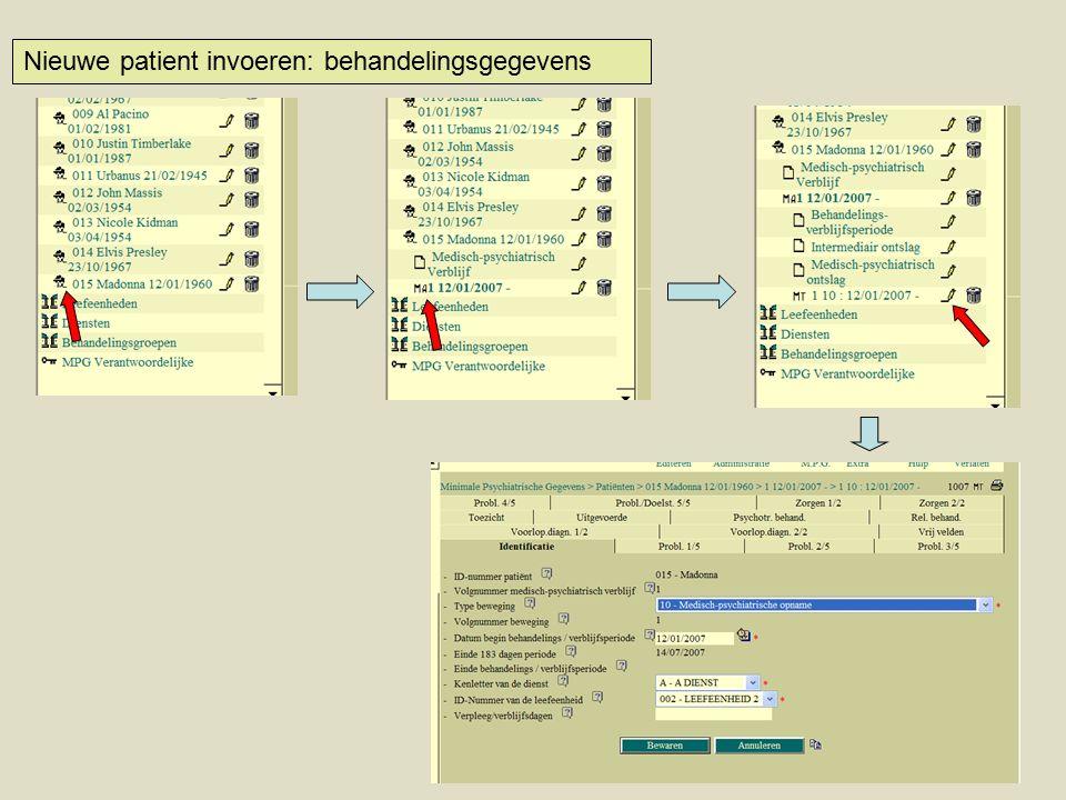 Nieuwe patient invoeren: behandelingsgegevens