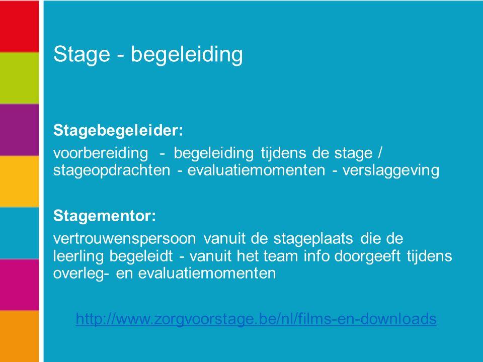Stage - begeleiding Stagebegeleider: voorbereiding - begeleiding tijdens de stage / stageopdrachten - evaluatiemomenten - verslaggeving Stagementor: vertrouwenspersoon vanuit de stageplaats die de leerling begeleidt - vanuit het team info doorgeeft tijdens overleg- en evaluatiemomenten http://www.zorgvoorstage.be/nl/films-en-downloads