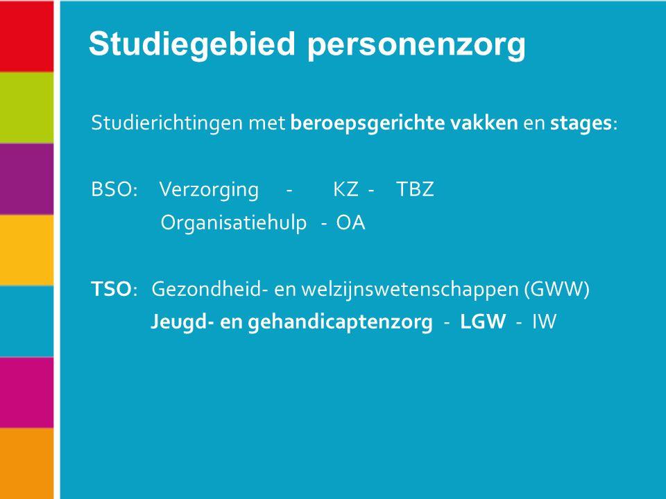 Studierichtingen met beroepsgerichte vakken en stages: BSO: Verzorging - KZ - TBZ Organisatiehulp - OA TSO: Gezondheid- en welzijnswetenschappen (GWW) Jeugd- en gehandicaptenzorg - LGW - IW Studiegebied personenzorg