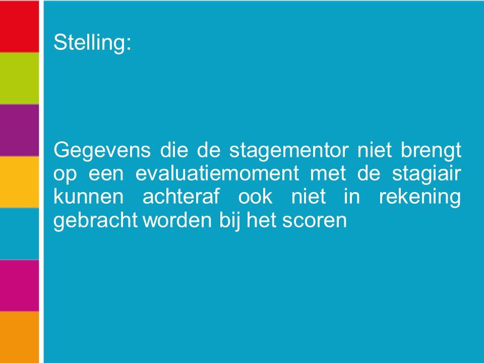Stelling: Gegevens die de stagementor niet brengt op een evaluatiemoment met de stagiair kunnen achteraf ook niet in rekening gebracht worden bij het scoren