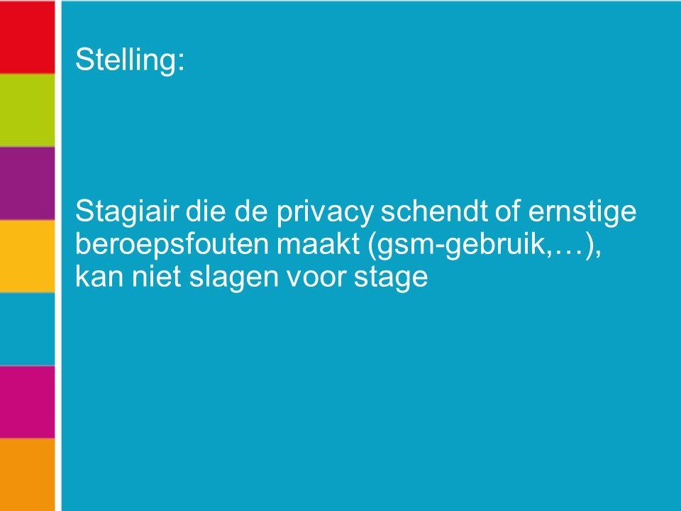Stelling: Stagiair die de privacy schendt of ernstige beroepsfouten maakt (gsm-gebruik,…), kan niet slagen voor stage