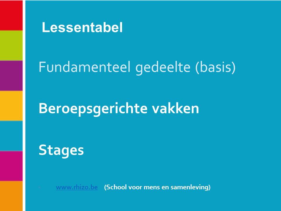 Lessentabel Fundamenteel gedeelte (basis) Beroepsgerichte vakken Stages www.rhizo.be (School voor mens en samenleving) www.rhizo.be