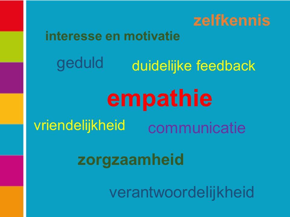 interesse en motivatie duidelijke feedback vriendelijkheid verantwoordelijkheid zorgzaamheid zelfkennis geduld empathie communicatie