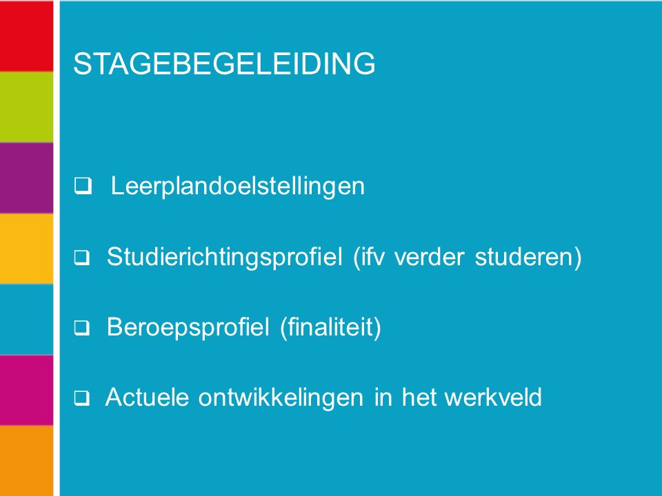 STAGEBEGELEIDING  Leerplandoelstellingen  Studierichtingsprofiel (ifv verder studeren)  Beroepsprofiel (finaliteit)  Actuele ontwikkelingen in het werkveld