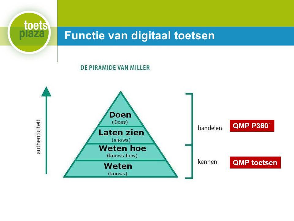 Expertiseteam Toetsenbank Functie van digitaal toetsen QMP P360˚ QMP toetsen