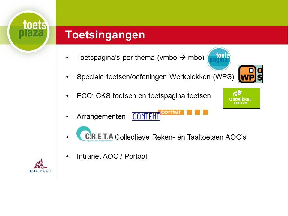 Expertiseteam Toetsenbank Toetsingangen Toetspagina's per thema (vmbo  mbo) Speciale toetsen/oefeningen Werkplekken (WPS) ECC: CKS toetsen en toetspagina toetsen Arrangementen Collectieve Reken- en Taaltoetsen AOC's Intranet AOC / Portaal