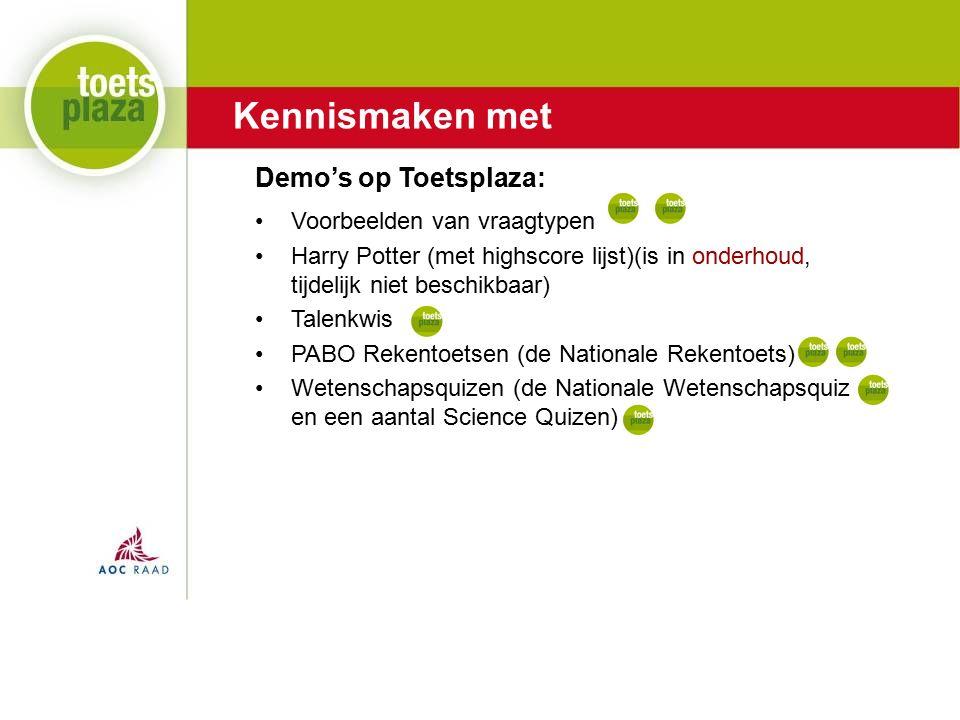 Expertiseteam Toetsenbank Kennismaken met Voorbeelden van vraagtypen Harry Potter (met highscore lijst)(is in onderhoud, tijdelijk niet beschikbaar) Talenkwis PABO Rekentoetsen (de Nationale Rekentoets) Wetenschapsquizen (de Nationale Wetenschapsquiz en een aantal Science Quizen) Demo's op Toetsplaza: