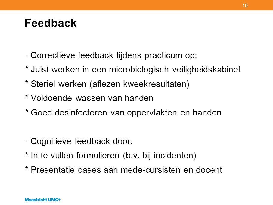 10 Feedback - Correctieve feedback tijdens practicum op: * Juist werken in een microbiologisch veiligheidskabinet * Steriel werken (aflezen kweekresul