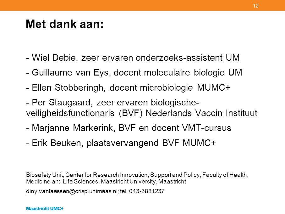 12 Met dank aan: - Wiel Debie, zeer ervaren onderzoeks-assistent UM - Guillaume van Eys, docent moleculaire biologie UM - Ellen Stobberingh, docent mi