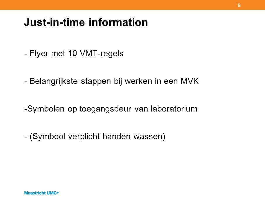 9 Just-in-time information - Flyer met 10 VMT-regels - Belangrijkste stappen bij werken in een MVK -Symbolen op toegangsdeur van laboratorium - (Symbo