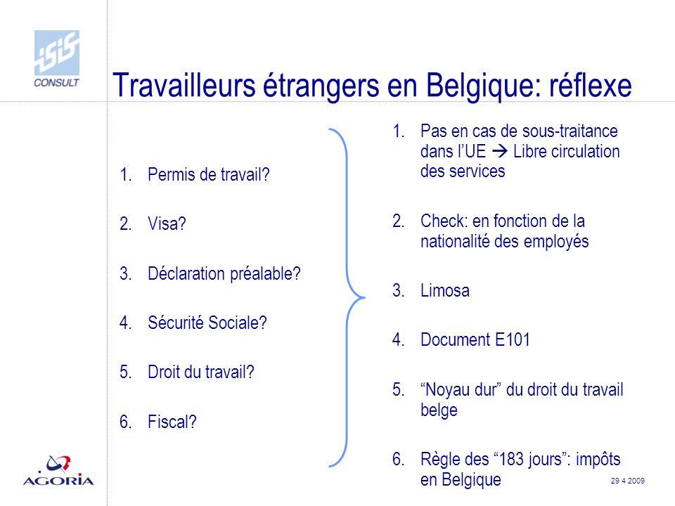 29 4 2009 Travailleurs étrangers en Belgique: réflexe 1.Permis de travail.