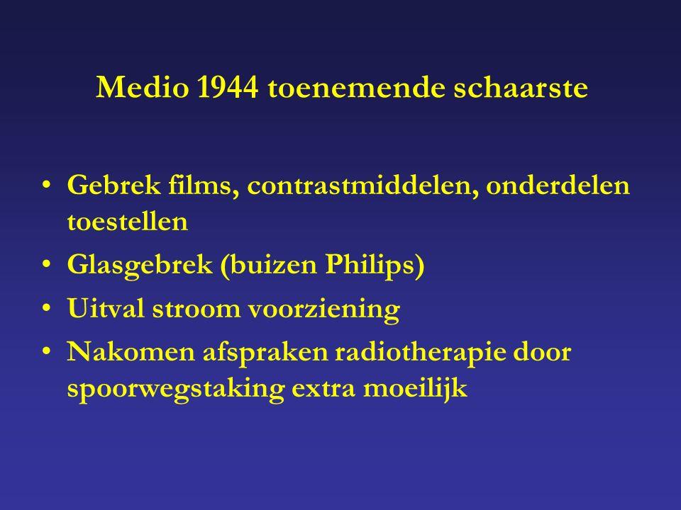 Gebrek films, contrastmiddelen, onderdelen toestellen Glasgebrek (buizen Philips) Uitval stroom voorziening Nakomen afspraken radiotherapie door spoorwegstaking extra moeilijk Medio 1944 toenemende schaarste