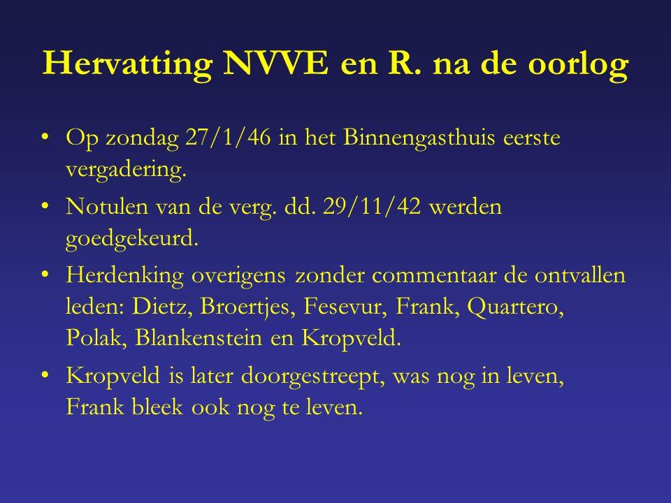 Hervatting NVVE en R. na de oorlog Op zondag 27/1/46 in het Binnengasthuis eerste vergadering.
