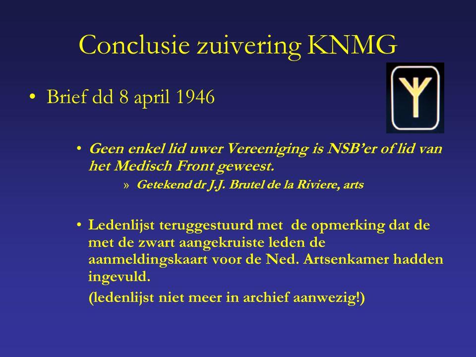 Conclusie zuivering KNMG Brief dd 8 april 1946 Geen enkel lid uwer Vereeniging is NSB'er of lid van het Medisch Front geweest.