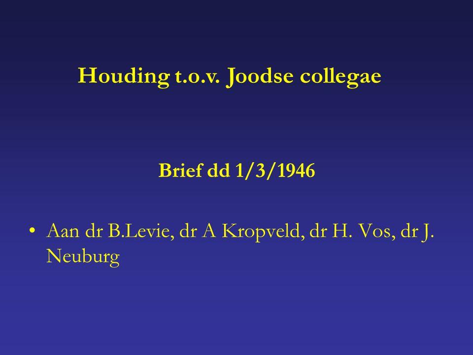 Brief dd 1/3/1946 Aan dr B.Levie, dr A Kropveld, dr H.