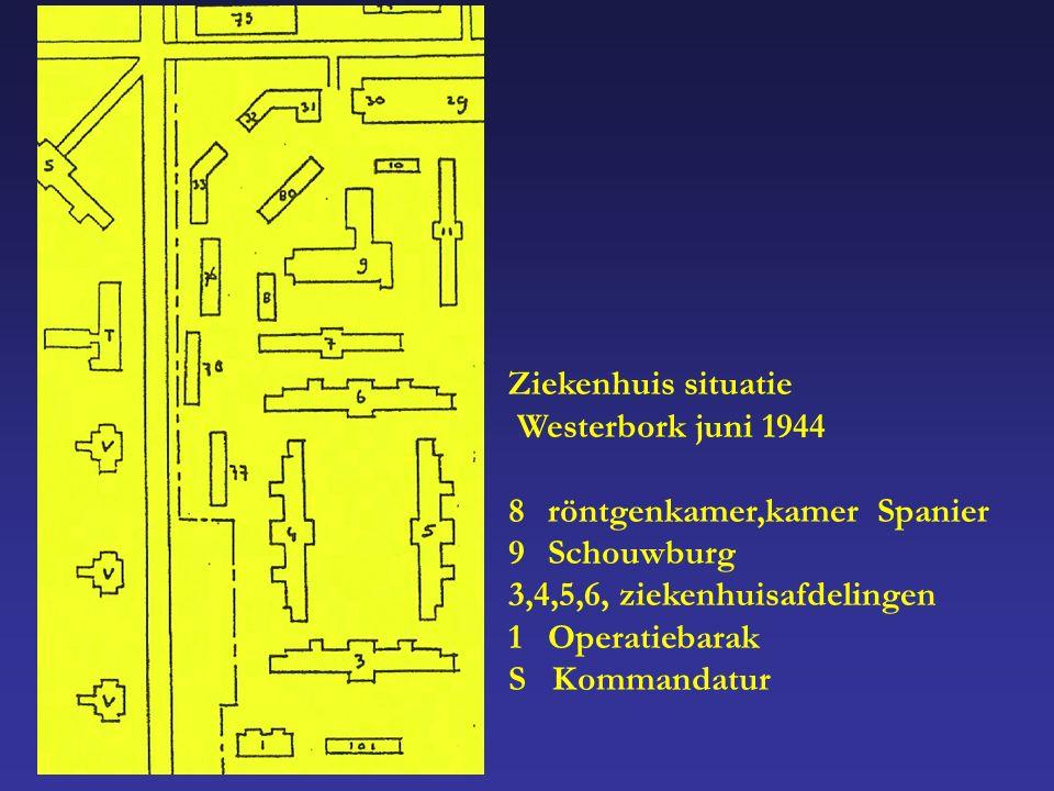 Ziekenhuis situatie Westerbork juni 1944 8röntgenkamer,kamer Spanier 9Schouwburg 3,4,5,6, ziekenhuisafdelingen 1Operatiebarak S Kommandatur