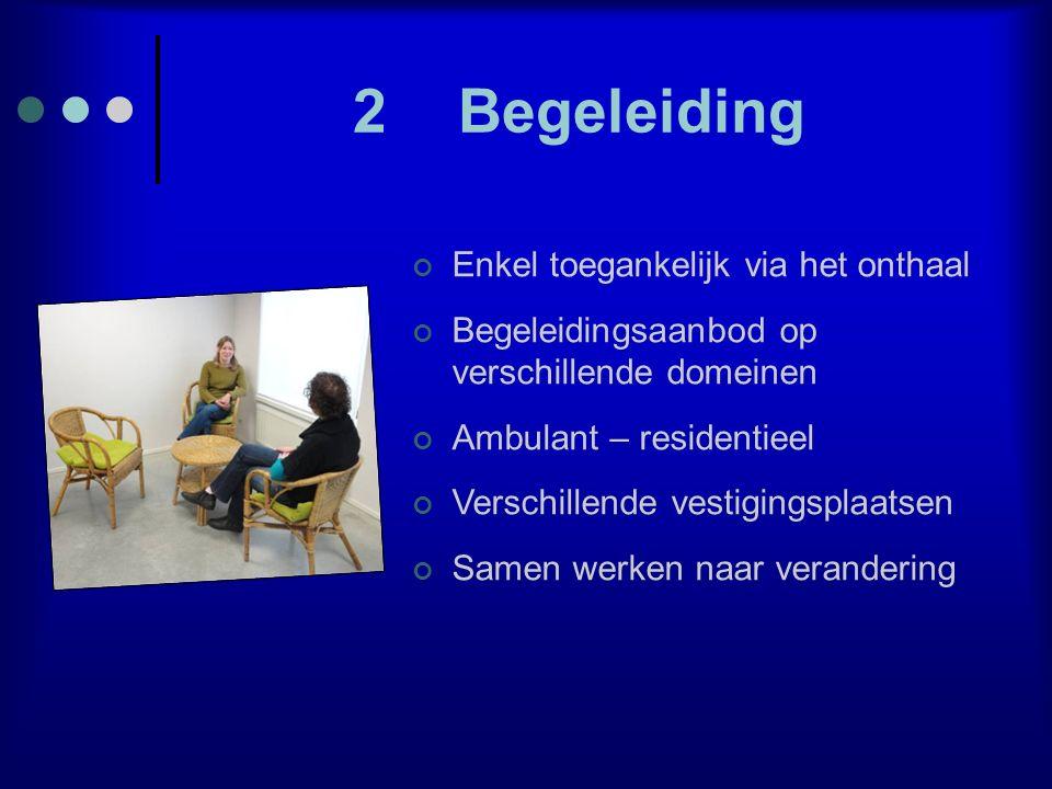 2Begeleiding Enkel toegankelijk via het onthaal Begeleidingsaanbod op verschillende domeinen Ambulant – residentieel Verschillende vestigingsplaatsen