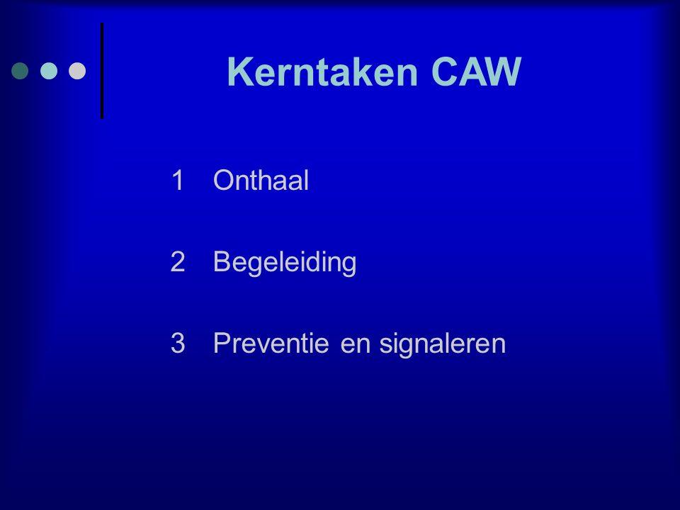 Kerntaken CAW 1Onthaal 2Begeleiding 3Preventie en signaleren