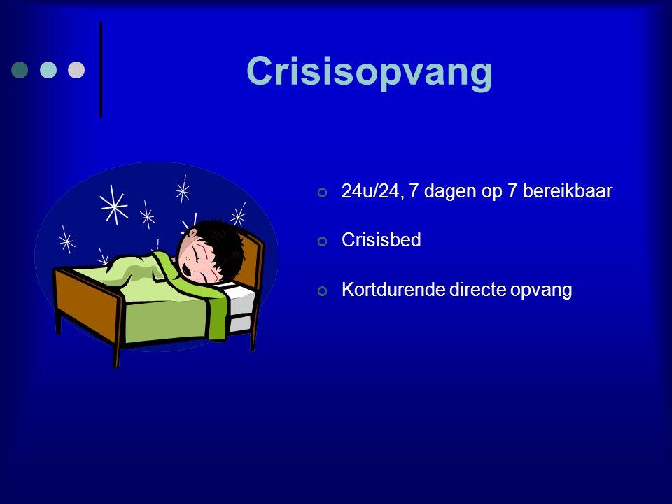 Crisisopvang 24u/24, 7 dagen op 7 bereikbaar Crisisbed Kortdurende directe opvang