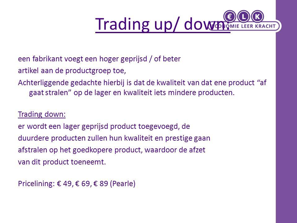 Trading up/ down: een fabrikant voegt een hoger geprijsd / of beter artikel aan de productgroep toe, Achterliggende gedachte hierbij is dat de kwaliteit van dat ene product af gaat stralen op de lager en kwaliteit iets mindere producten.