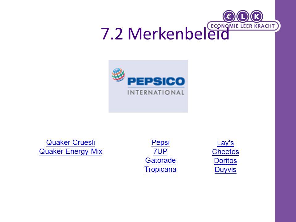 7.2 Merkenbeleid Pepsi 7UP Gatorade Tropicana Quaker Cruesli Quaker Energy Mix Lay s Cheetos Doritos Duyvis