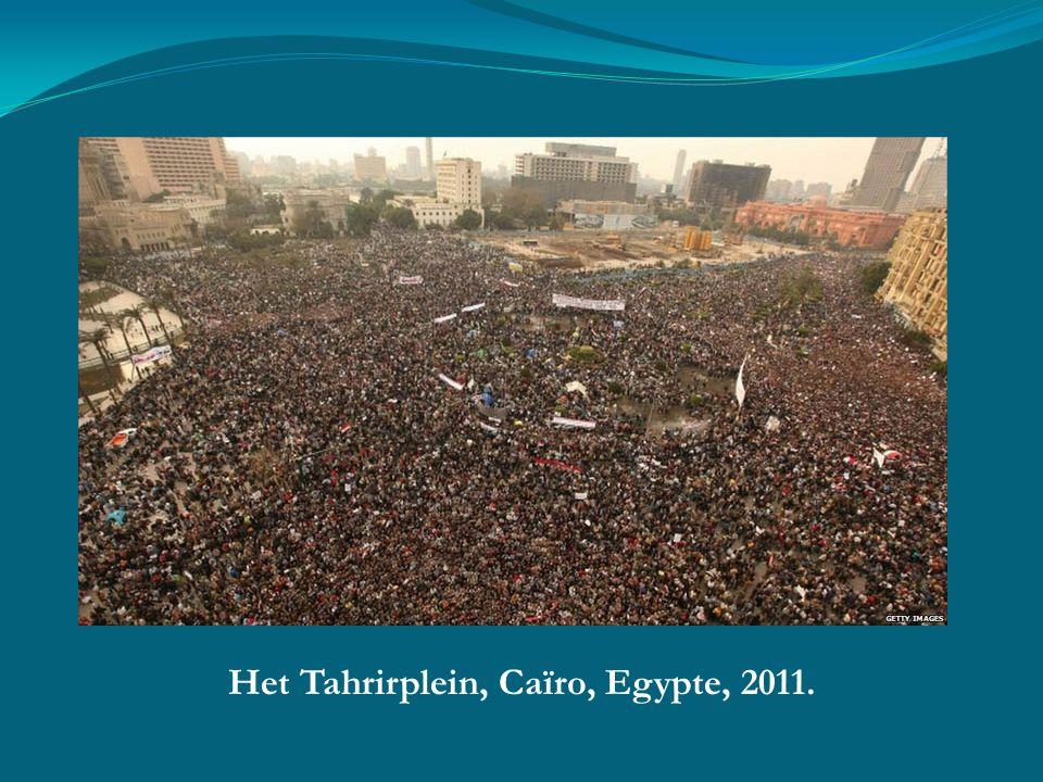 Het Tahrirplein, Caïro, Egypte, 2011.