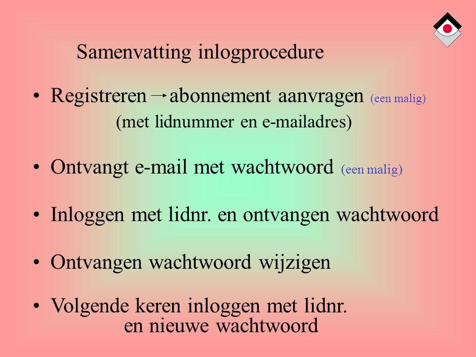 Samenvatting inlogprocedure Registreren abonnement aanvragen (een malig) (met lidnummer en e-mailadres) Ontvangt e-mail met wachtwoord (een malig) Inloggen met lidnr.