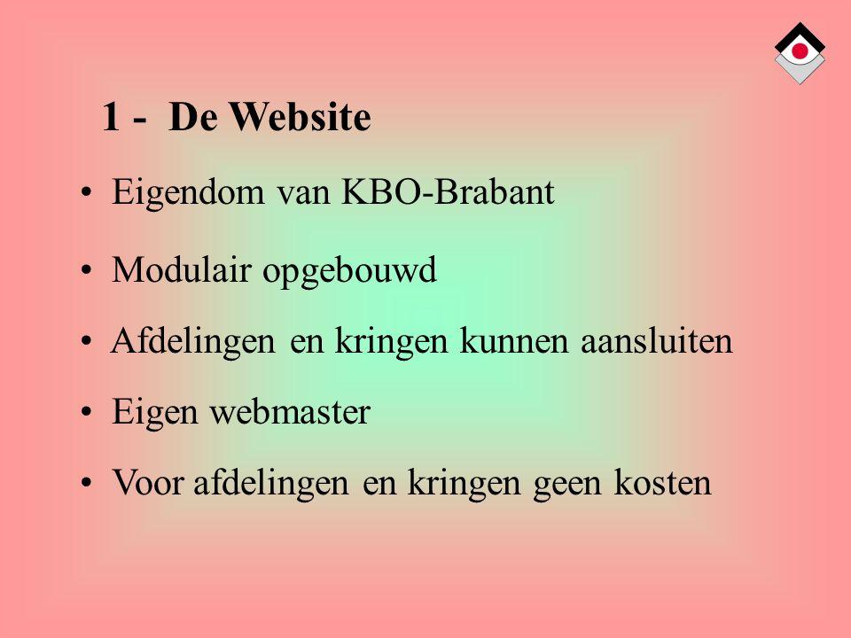 1 - De Website Eigendom van KBO-Brabant Modulair opgebouwd Afdelingen en kringen kunnen aansluiten Eigen webmaster Voor afdelingen en kringen geen kosten