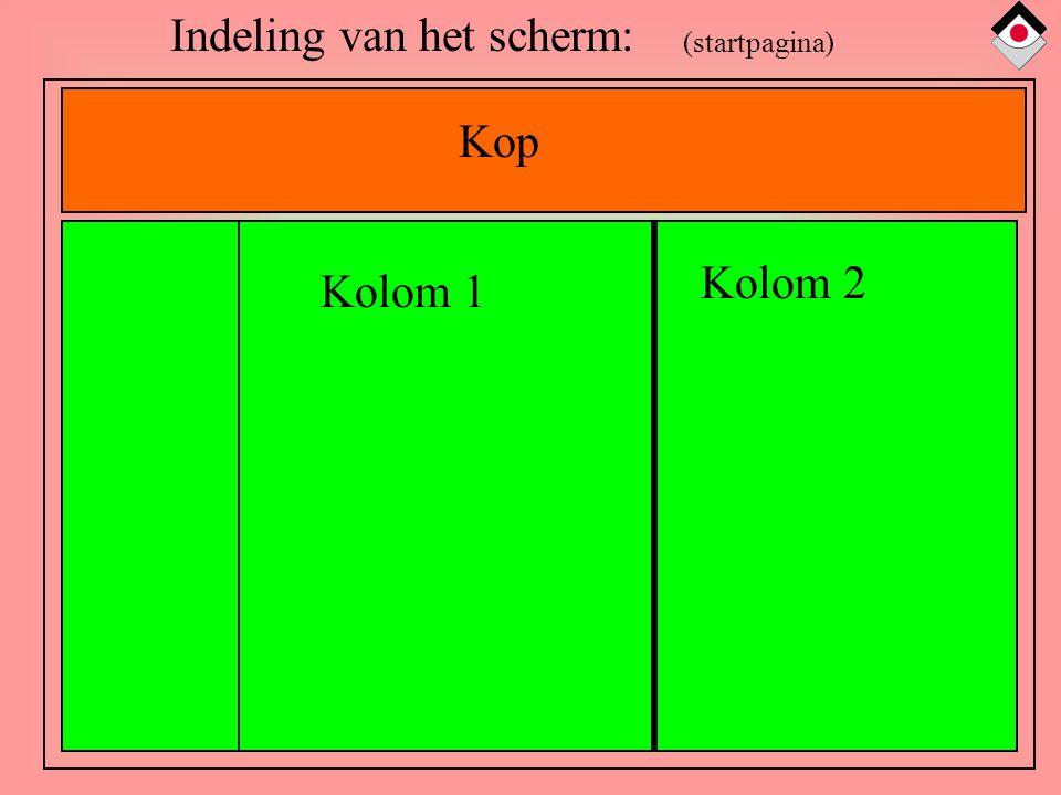 Indeling van het scherm: Kop Kolom 1 Kolom 2 (startpagina)