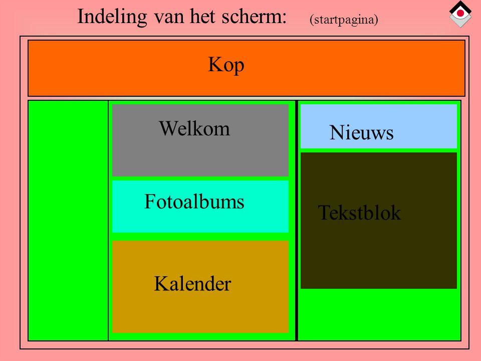 Kop Welkom Nieuws Tekstblok Fotoalbums Kalender Indeling van het scherm: (startpagina)