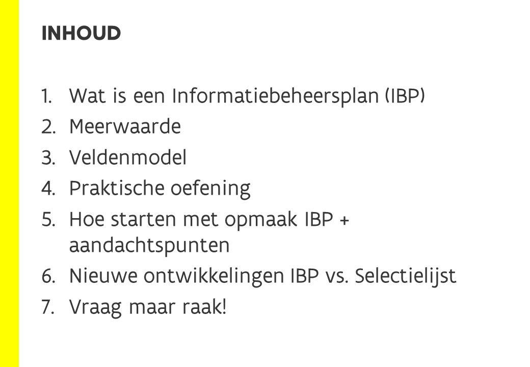 Informatiebeheersplan (IBP) informatie- objecten Structuur Beheers- regels