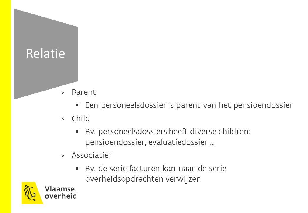 Parent  Een personeelsdossier is parent van het pensioendossier  Child  Bv.